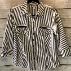 Cute petite shirt with zipper detail